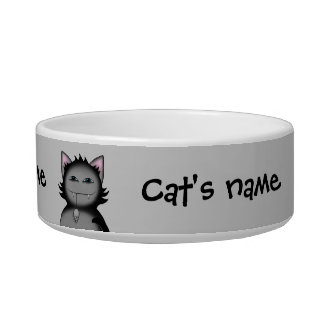 Shady kitty cats on gray bowl
