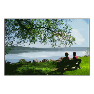 Shady lakeside bench poster