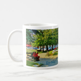 Shady Luccan Park Bench thoughts turn to home, Mug