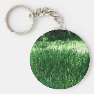 Shady Meadow on a sunny day Basic Round Button Keychain