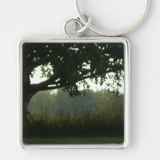 shady tree view Silver-Colored square keychain