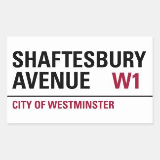 Shaftesbury Avenue Sign (pack of 4) Rectangular Sticker