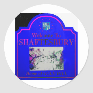 Shaftesbury Blue Pink Classic Round Sticker