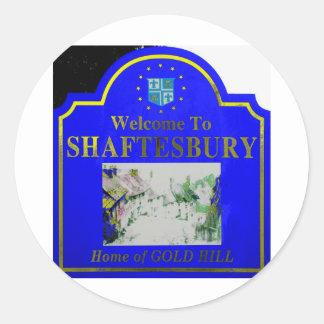 Shaftesbury Blue Yellow Classic Round Sticker