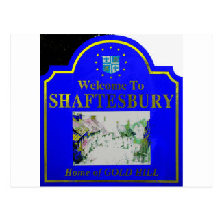 Shaftesbury Blue Yellow Postcard