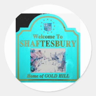 Shaftesbury Torquise Classic Round Sticker