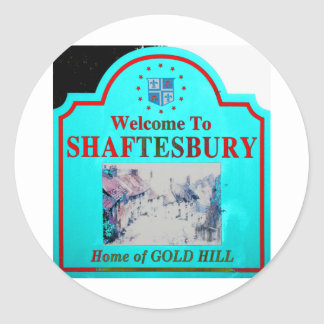 Shaftesbury Torquise Red Classic Round Sticker