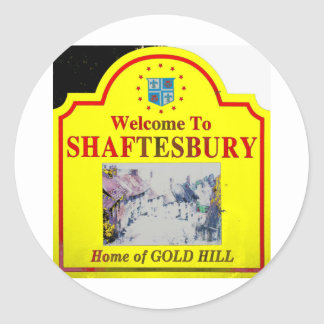 Shaftesbury Yellow Red Classic Round Sticker