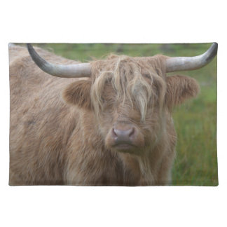 Shaggy Blonde Highland Cow Place Mats