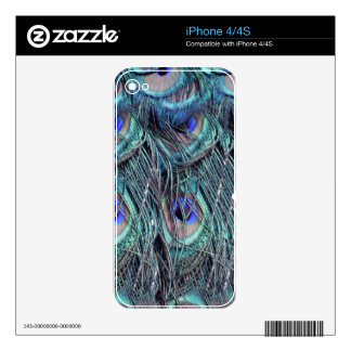 shaggy blue peafowl feathers iPhone 4S decals