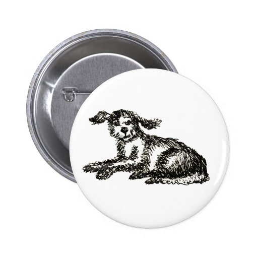 Shaggy dog pinback buttons