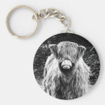 Shaggy Highland Cow Photo (Black & White) Keychain
