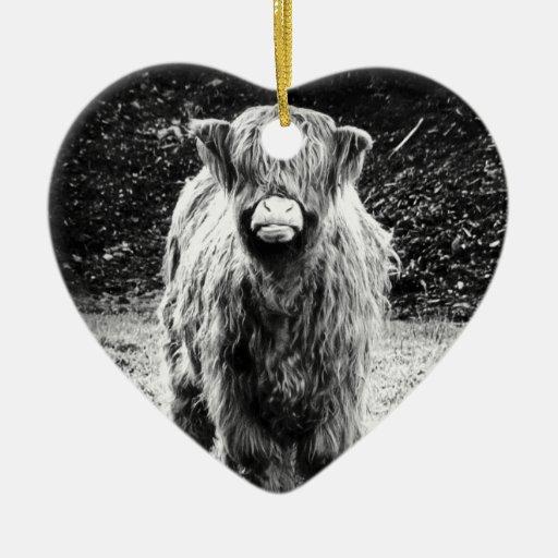 Shaggy Highland Cow Photo (Black & White) Double-Sided Heart Ceramic Christmas Ornament