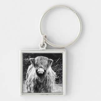 Shaggy Highland Cow Photo (Black & White) Silver-Colored Square Keychain