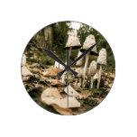 Shaggy Mane Mushrooms Round Wall Clocks
