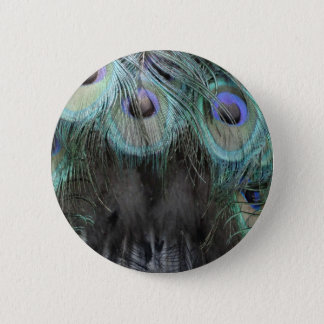 Shaggy Peafowl Feathers Pinback Button