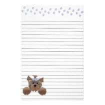 Shaggy Puppy and Blue Paw Prints Lined Stationery