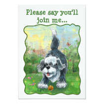 Shaggy Sheep Dog Party Center Invitation