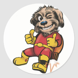 Shaggy Space Dog Classic Round Sticker