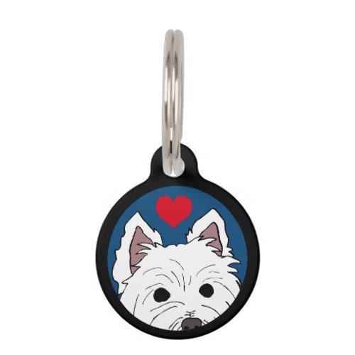 SHAGGY Westie with Heart Custom Pet Tag