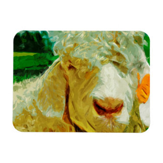 Shaggy White Angora Goat Abstract Impressionism Magnet