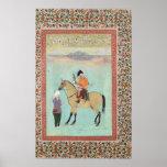 Shah Abbas en un caballo que sostiene un halcón Poster