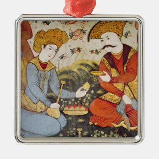 Shah Abbas I  and a Courtier Metal Ornament