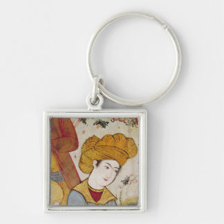 Shah Abbas I  and a Courtier offering Silver-Colored Square Keychain
