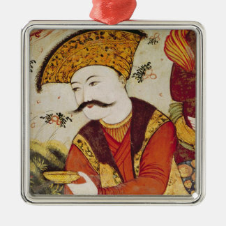 Shah Abbas I  and a Courtier offering Metal Ornament