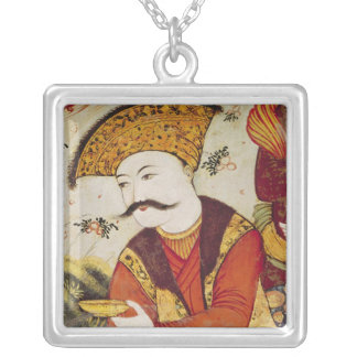 Shah Abbas I  and a Courtier offering Square Pendant Necklace