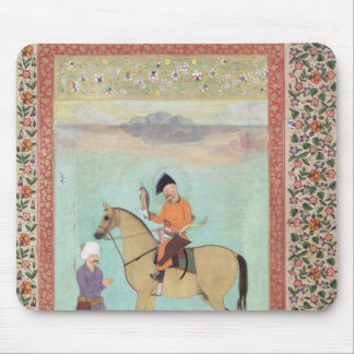 Shah Abbas  on a horse holding a falcon Mouse Pad