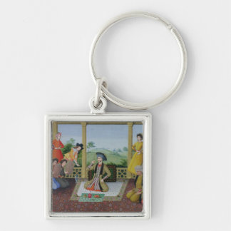 Shah Suleyman II  and his courtiers Silver-Colored Square Keychain