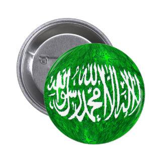 Shahada en un botón islámico del globo tridimensio pin