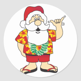 Shaka Santa Classic Round Sticker