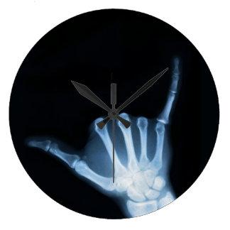 Shaka Sign X-Ray (Hang Loose) Wall Clocks