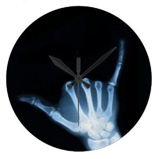 Shaka Sign X-Ray (Hang Loose) Large Clock