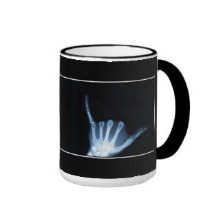 Shaka Sign X-Ray (Hang Loose) Ringer Coffee Mug