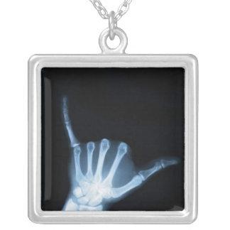 Shaka Sign X-Ray (Hang Loose) Square Pendant Necklace