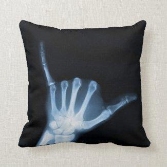 Shaka Sign X-Ray (Hang Loose) Throw Pillow