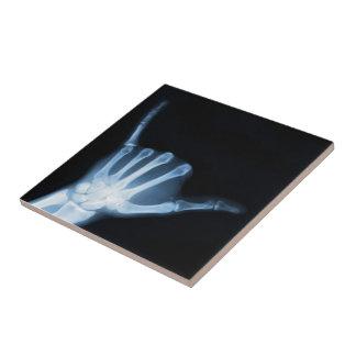 Shaka Sign X-Ray (Hang Loose) Small Square Tile