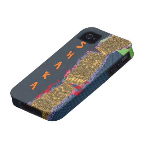Shaka Tipsy Tiki Totem Low Brow Luau - Case-Mate iPhone 4 Cases