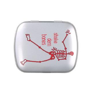 Shake dem bones Red Skeleton rect. Candy Tin