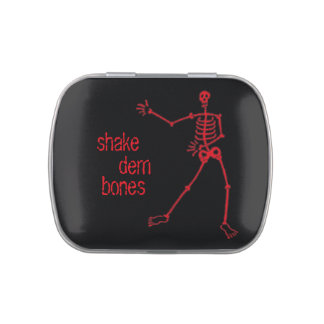 Shake dem bones Red Skeleton rect. Jelly Belly Candy Tin