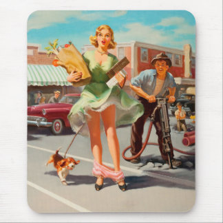 Shake down funny retro pinup girl mouse pad