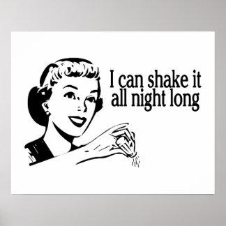Shake It All Night Long Retro Poster