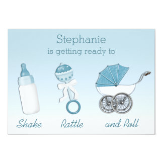 Shake Rattle and Roll Boy Baby Shower Card