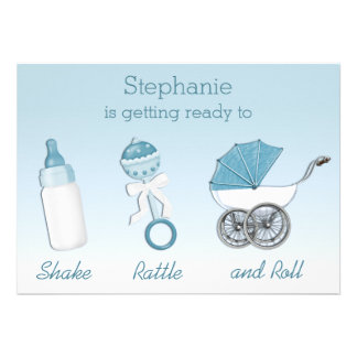 Shake Rattle and Roll Boy Baby Shower Personalized Announcements