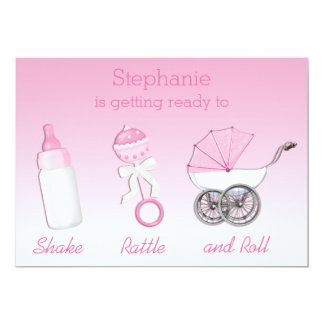 Shake Rattle and Roll Girl Baby Shower Card