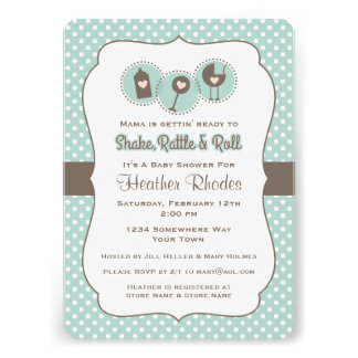 Shake Rattle and Roll Personalized Invites