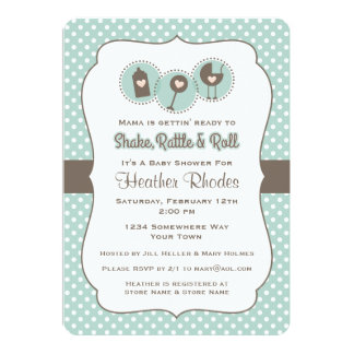 Shake Rattle and Roll 5x7 Paper Invitation Card